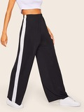 Contrast Sideseam Wide Leg Pants