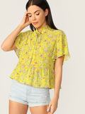 Frilled Tie Neck Botanical Print Smock Top