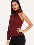 One Shoulder Choker Sweater