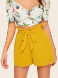 Paperbag Waist Self Belted Solid Shorts