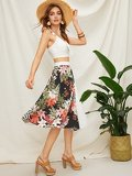 Floral Print Panel Pleated Skirt