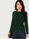 Self Belted Asymmetrical Hem Top