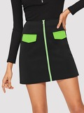 Zip Up Contrast Panel Skirt