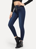 Single-breasted High Waist Jeans