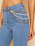 Faux Pearl Decor Multilayer Chain Belt