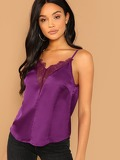 Floral Lace Insert Plunging Satin Cami Top