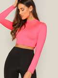 Mock-neck Slim Fitted Crop Top