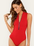 O-Ring Zip Front Rib Knit Bodysuit