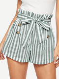 Double Breasted Striped Belted Paperbag Waist Shorts