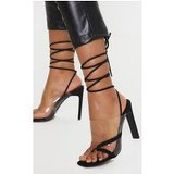 Black Clear Ankle Tie Toe Loop Sandal