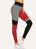 Wide Waistband Cut and Sew Plaid Leggings
