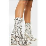 Grey Snake Chunky Block Heel Point Toe Boot