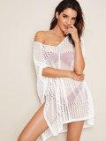 V Neck Slit Hem Crochet Cover Up