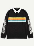 Men Contrast Collar Stripe & Letter Print Polo Shirt