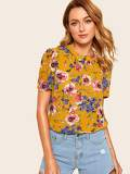 Pleated Front Flutter Sleeve Floral Top