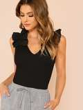 Ruffle Trim Sleeveless Rib Knit Tee