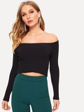 Off-shoulder Fitted Crop Top