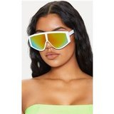 White Frame Yellow Lens Flat Top Modern Sunglasses