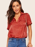 Double Flap Pocket Front Cuffed Sleeve Satin Blouse