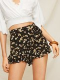Knot Side Calico Print Ruffle Trim Short
