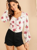 Frilled Sweetheart Lantern Sleeve Polka Dot & Floral Top