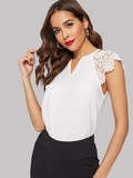 Notched Neck Guipure Lace Sleeve Blouse