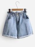 Frill Trim Cuffed Denim Shorts