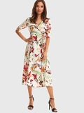 Contrast Piping Floral Print Surplice Wrap Dress
