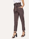 Paperbag Waist Plaid Belted Pants