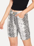 Snake Skin Pattern Print Pocket Denim Shorts