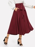 Tassel Bow Tie Waist Pocket Side Pleated Skirt