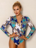 Joyfunear Surplice Neck Ornate Print Bodysuit