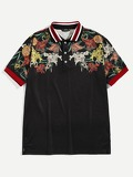Men Flower Print Polo Shirt