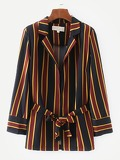 Multi-Stripe Self Tie Blazer
