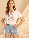 Tie Neck Flower Embroidered Puff Sleeve Top