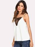 Lace Insert Strap Back Cami Top