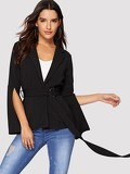 Notched Collar Split Sleeve Buckle Belted Blazer
