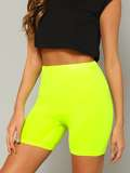 Neon Yellow Solid Leggings Shorts