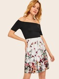 Off Shoulder Color-block Floral Print Dress