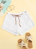 Crochet Drawstring Waist Shorts