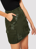 Pocket Side Denim Ripped Denim Skirt