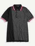 Men Contrast Trim Striped Panel Polo Shirt