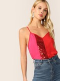 Sequin Panel Colorblock Cami Top
