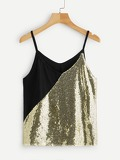 Contrast Sequin Tank Top