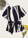 Color Block Self Belted Top