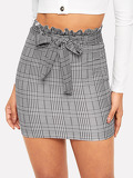 Paperbag Waist Plaid Bodycon Skirt With Belt