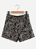 Geo Pattern Sequin Shorts