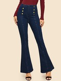 Double Breasted Flare Leg Jeans