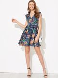 Ruffle Shoulder Tropical Flare Dress
