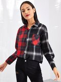 Plaid Colorblock Single Breasted Blouse